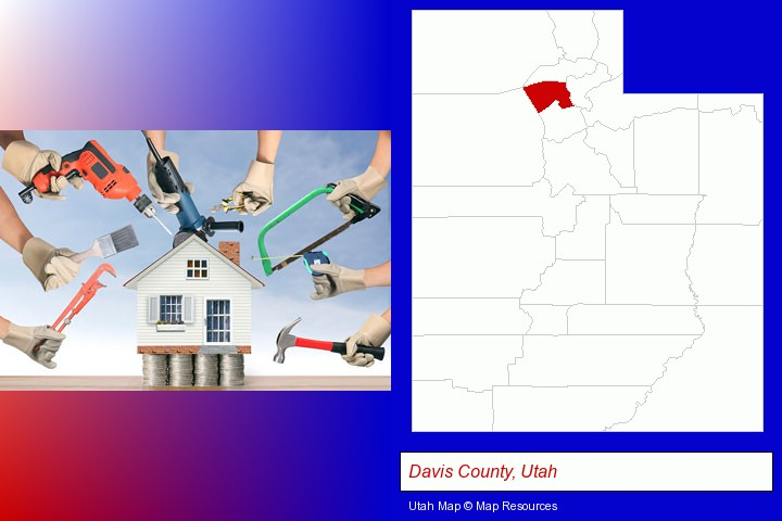 home improvement concepts and tools; Davis County, Utah highlighted in red on a map