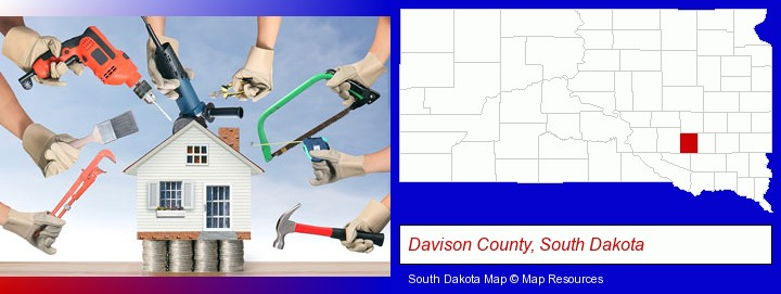 home improvement concepts and tools; Davison County, South Dakota highlighted in red on a map