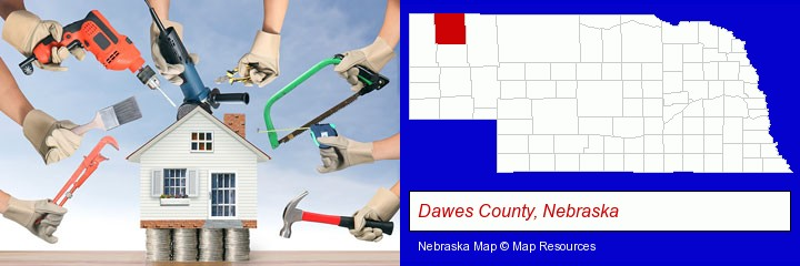 home improvement concepts and tools; Dawes County, Nebraska highlighted in red on a map