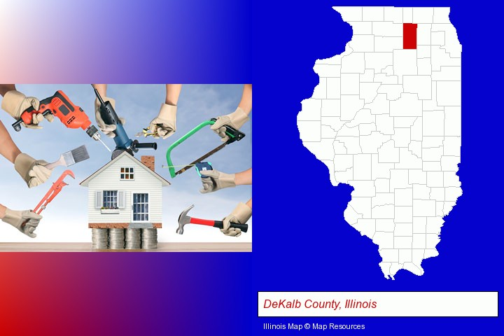 home improvement concepts and tools; DeKalb County, Illinois highlighted in red on a map