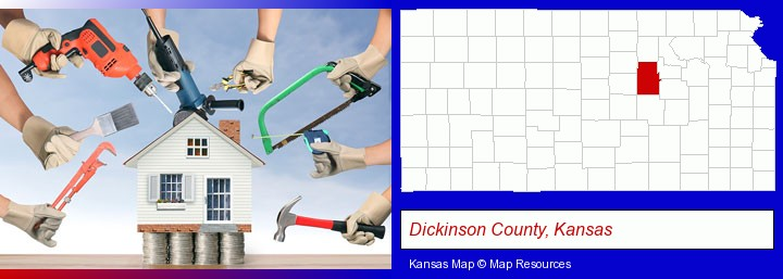 home improvement concepts and tools; Dickinson County, Kansas highlighted in red on a map
