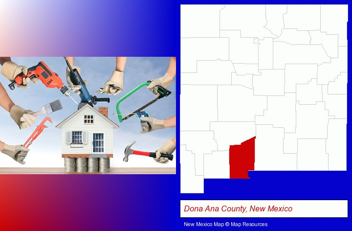 home improvement concepts and tools; Dona Ana County, New Mexico highlighted in red on a map