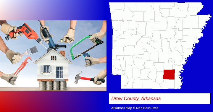 home improvement concepts and tools; Drew County, Arkansas highlighted in red on a map