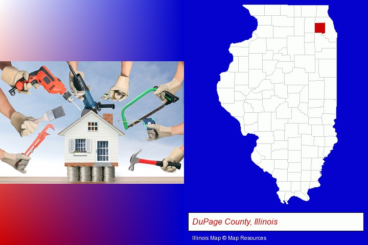home improvement concepts and tools; DuPage County, Illinois highlighted in red on a map