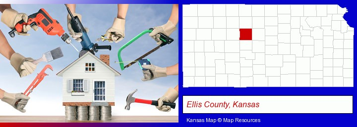 home improvement concepts and tools; Ellis County, Kansas highlighted in red on a map