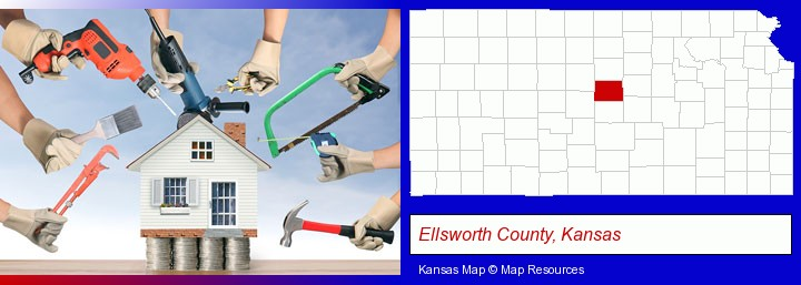 home improvement concepts and tools; Ellsworth County, Kansas highlighted in red on a map