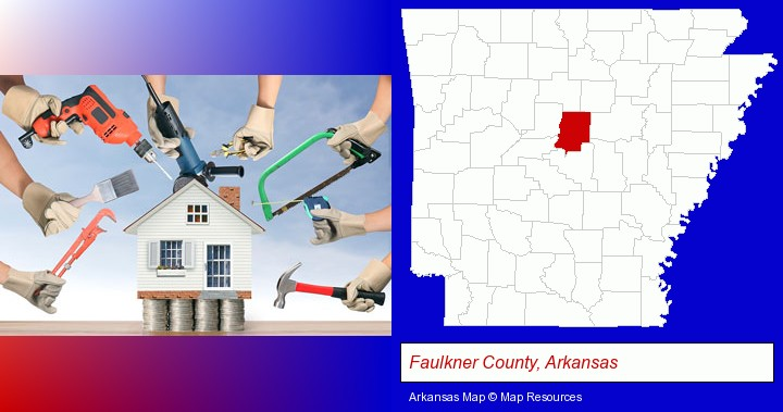 home improvement concepts and tools; Faulkner County, Arkansas highlighted in red on a map