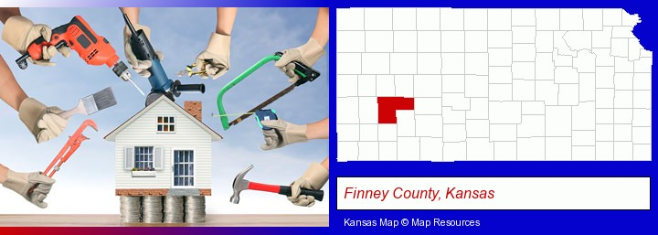 home improvement concepts and tools; Finney County, Kansas highlighted in red on a map