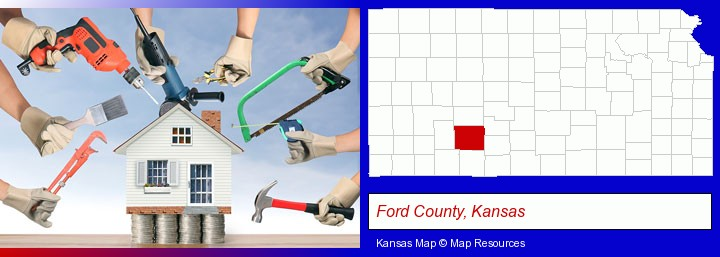 home improvement concepts and tools; Ford County, Kansas highlighted in red on a map
