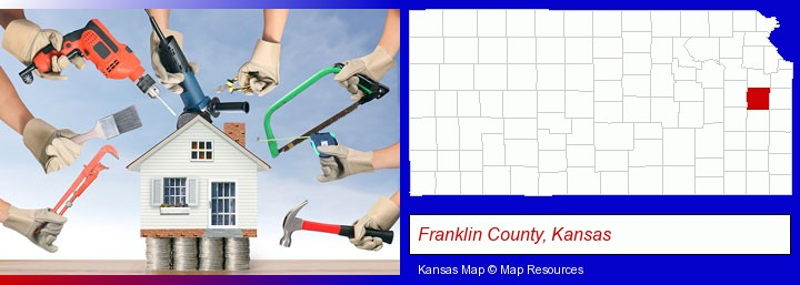 home improvement concepts and tools; Franklin County, Kansas highlighted in red on a map
