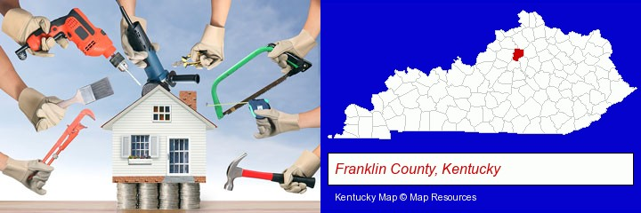 home improvement concepts and tools; Franklin County, Kentucky highlighted in red on a map