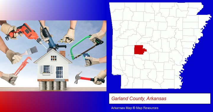 home improvement concepts and tools; Garland County, Arkansas highlighted in red on a map