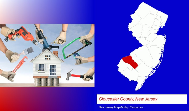 home improvement concepts and tools; Gloucester County, New Jersey highlighted in red on a map