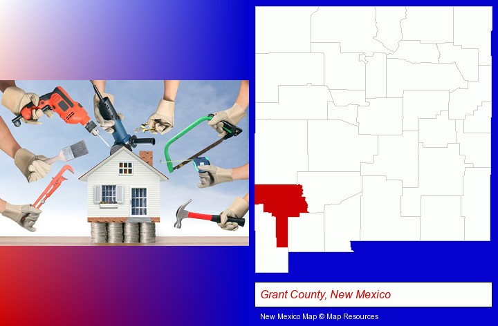 home improvement concepts and tools; Grant County, New Mexico highlighted in red on a map