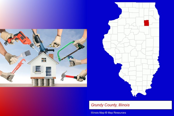 home improvement concepts and tools; Grundy County, Illinois highlighted in red on a map