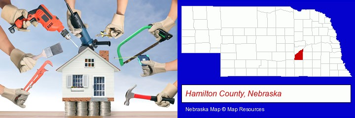 home improvement concepts and tools; Hamilton County, Nebraska highlighted in red on a map