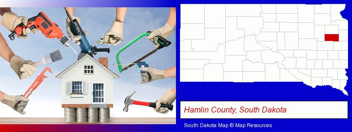 home improvement concepts and tools; Hamlin County, South Dakota highlighted in red on a map