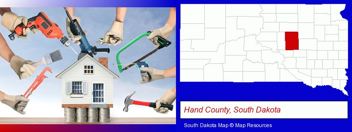 home improvement concepts and tools; Hand County, South Dakota highlighted in red on a map