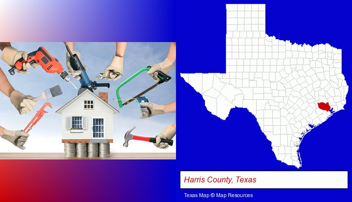 home improvement concepts and tools; Harris County, Texas highlighted in red on a map