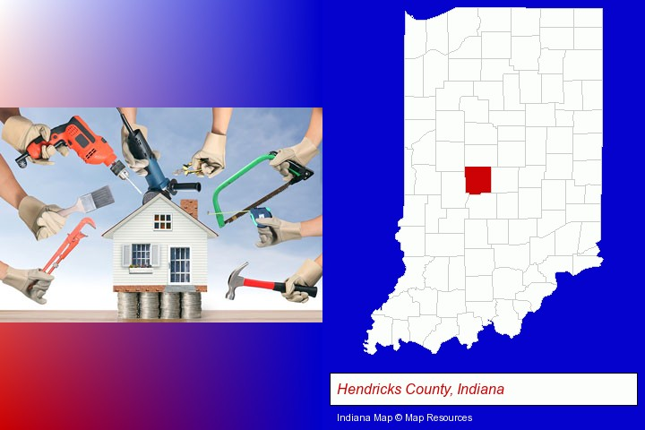 home improvement concepts and tools; Hendricks County, Indiana highlighted in red on a map