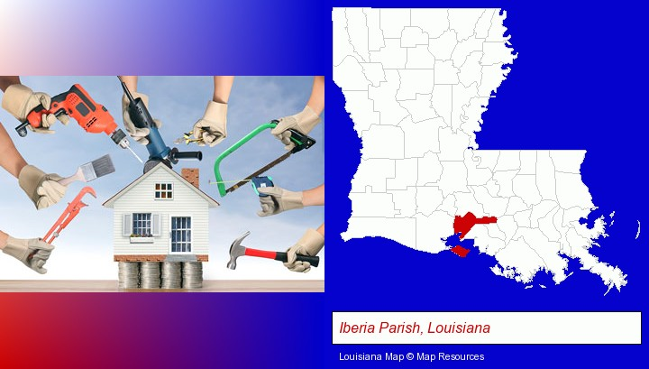 home improvement concepts and tools; Iberia Parish, Louisiana highlighted in red on a map
