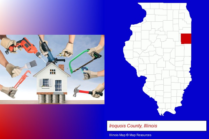home improvement concepts and tools; Iroquois County, Illinois highlighted in red on a map