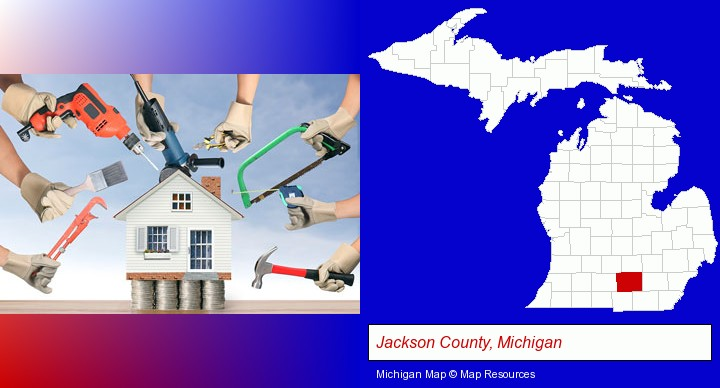 home improvement concepts and tools; Jackson County, Michigan highlighted in red on a map