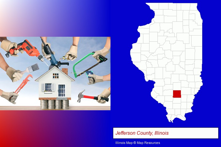 home improvement concepts and tools; Jefferson County, Illinois highlighted in red on a map