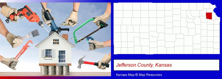 home improvement concepts and tools; Jefferson County, Kansas highlighted in red on a map