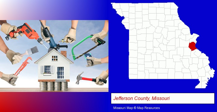 home improvement concepts and tools; Jefferson County, Missouri highlighted in red on a map