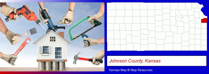 home improvement concepts and tools; Johnson County, Kansas highlighted in red on a map