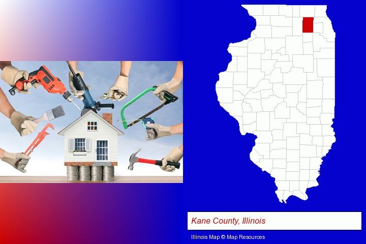 home improvement concepts and tools; Kane County, Illinois highlighted in red on a map