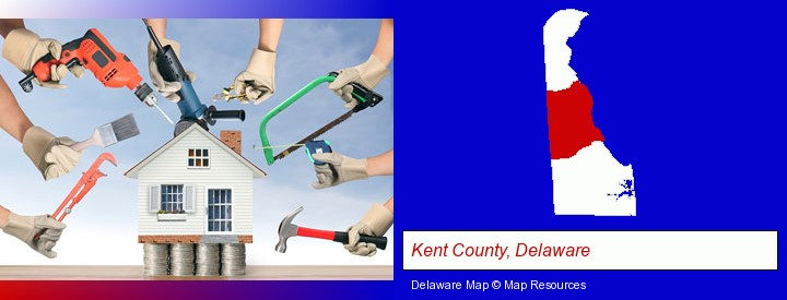 home improvement concepts and tools; Kent County, Delaware highlighted in red on a map