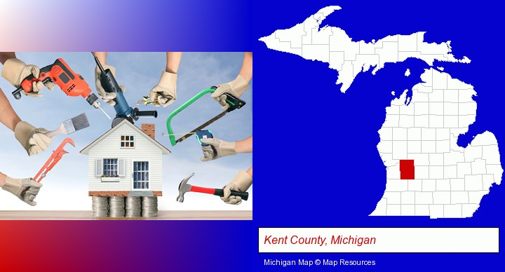 home improvement concepts and tools; Kent County, Michigan highlighted in red on a map
