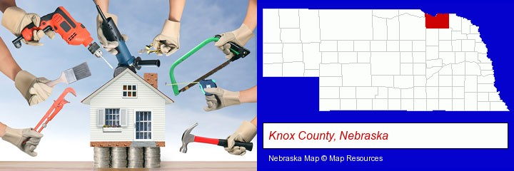 home improvement concepts and tools; Knox County, Nebraska highlighted in red on a map