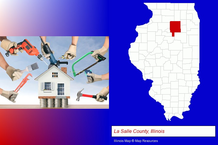 home improvement concepts and tools; La Salle County, Illinois highlighted in red on a map