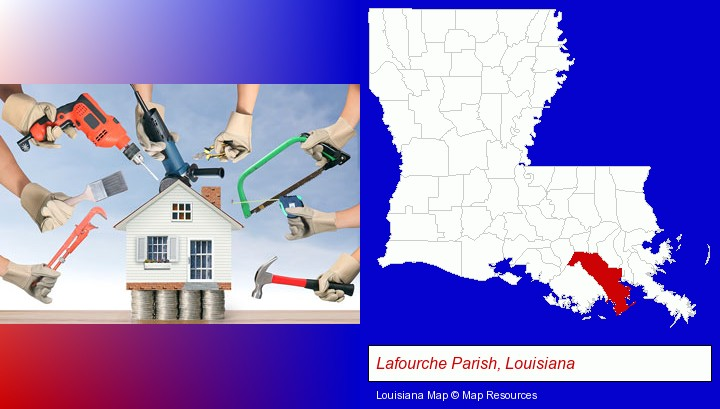home improvement concepts and tools; Lafourche Parish, Louisiana highlighted in red on a map