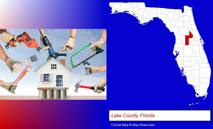 home improvement concepts and tools; Lake County, Florida highlighted in red on a map