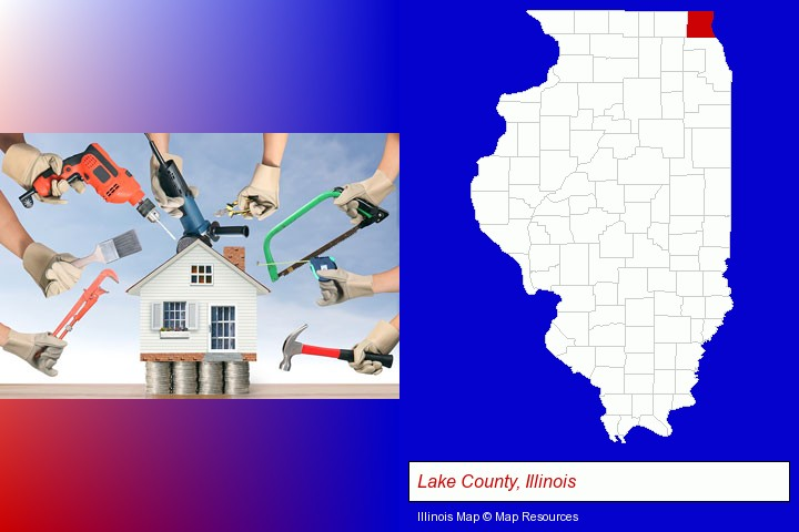 home improvement concepts and tools; Lake County, Illinois highlighted in red on a map