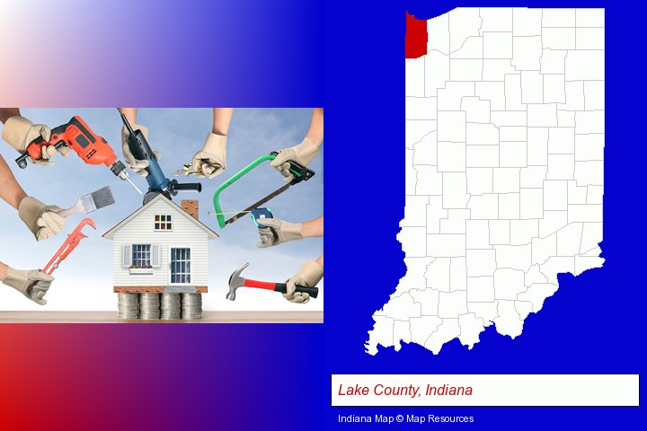 home improvement concepts and tools; Lake County, Indiana highlighted in red on a map