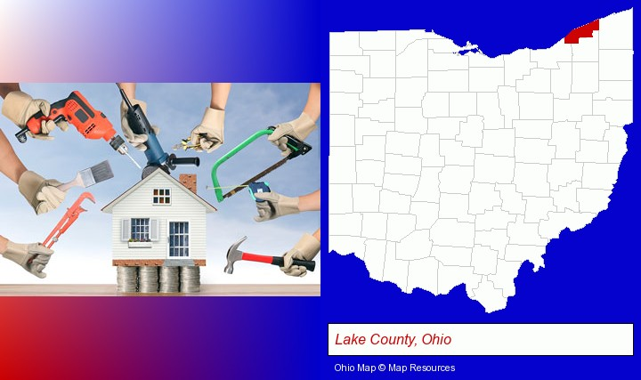 home improvement concepts and tools; Lake County, Ohio highlighted in red on a map