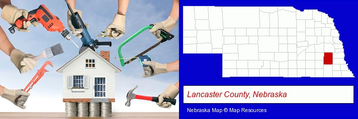 home improvement concepts and tools; Lancaster County, Nebraska highlighted in red on a map