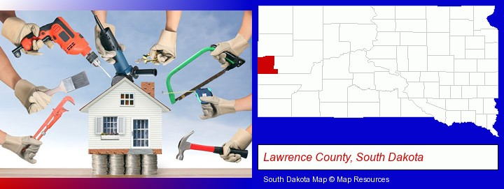 home improvement concepts and tools; Lawrence County, South Dakota highlighted in red on a map