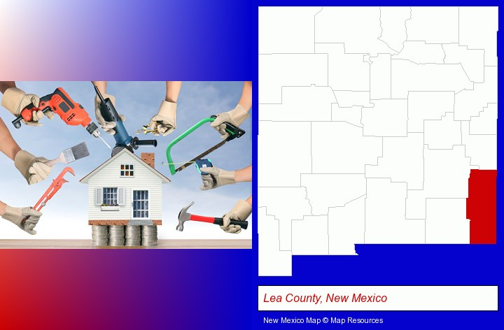 home improvement concepts and tools; Lea County, New Mexico highlighted in red on a map