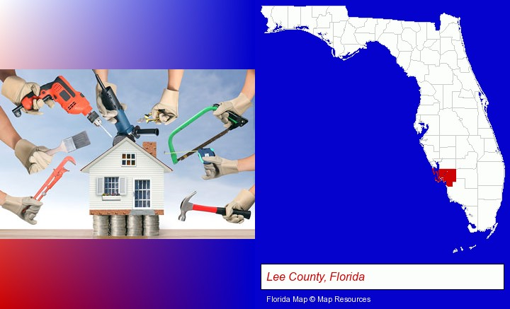 home improvement concepts and tools; Lee County, Florida highlighted in red on a map