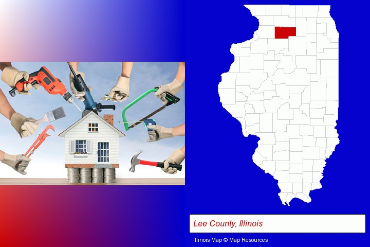 home improvement concepts and tools; Lee County, Illinois highlighted in red on a map