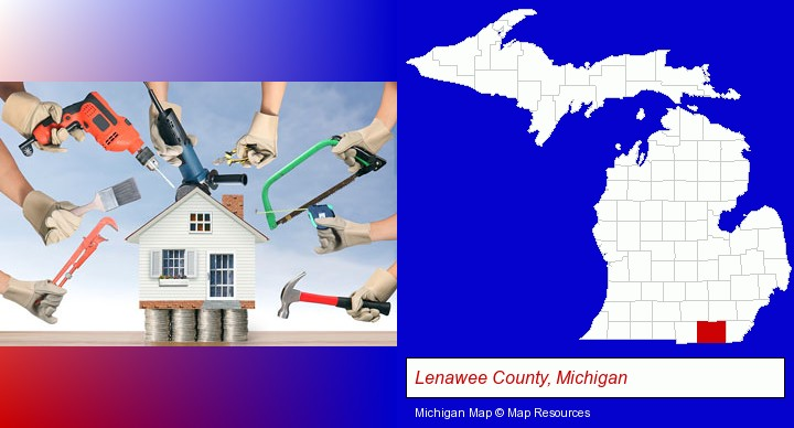 home improvement concepts and tools; Lenawee County, Michigan highlighted in red on a map