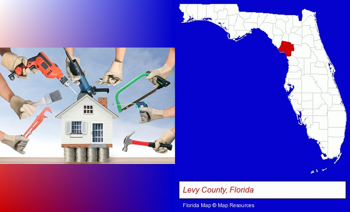 home improvement concepts and tools; Levy County, Florida highlighted in red on a map