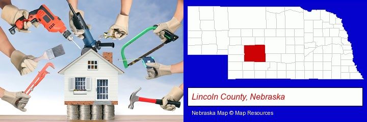 home improvement concepts and tools; Lincoln County, Nebraska highlighted in red on a map