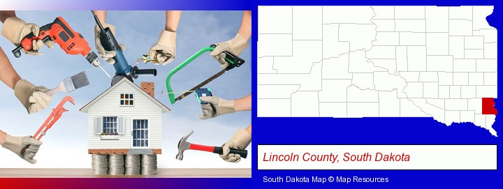 home improvement concepts and tools; Lincoln County, South Dakota highlighted in red on a map